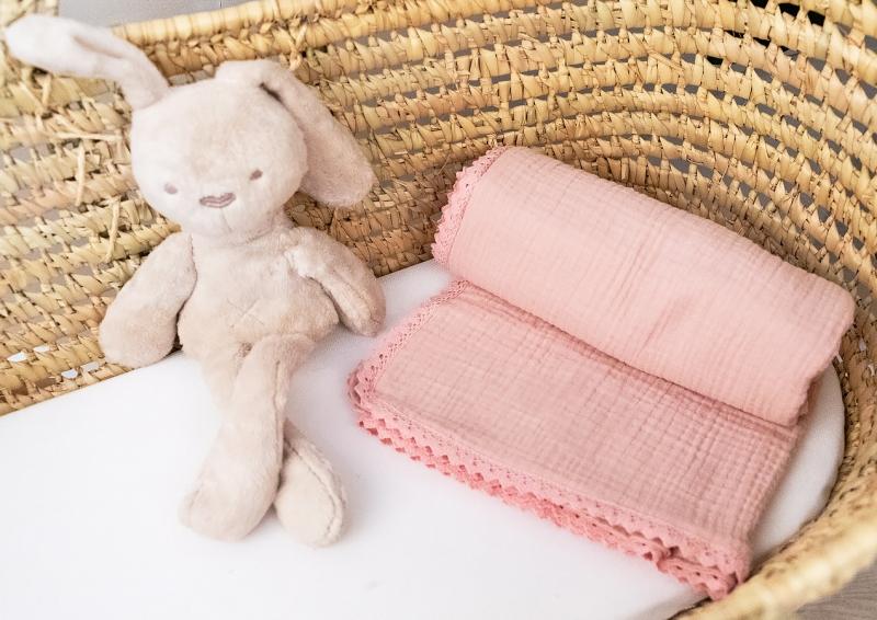 Baby Nellys Luxusná dvojvrstvová mušelínová detská deka, 75 x 100 cm, púdrová marhula