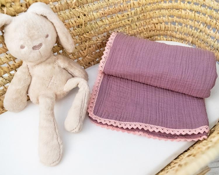 Baby Nellys Luxusná dvojvrstvová mušelínová detská deka, 75 x 100 cm, lila