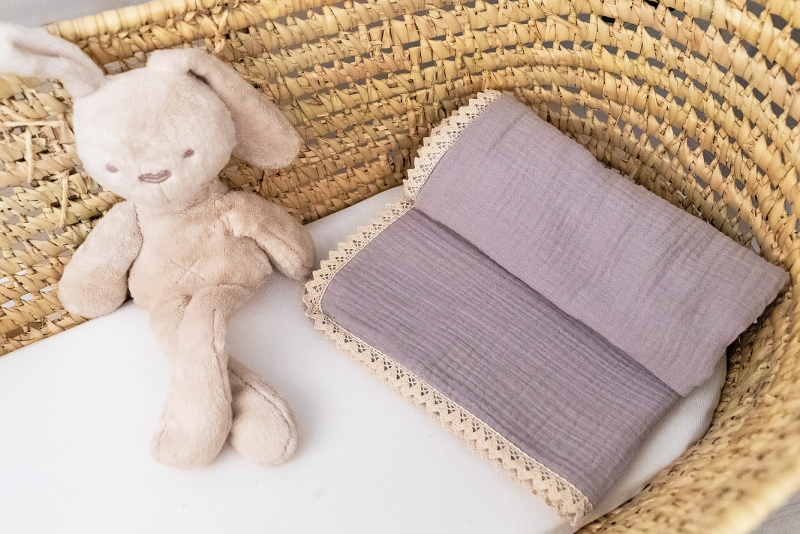 Baby Nellys Luxusná dvojvrstvová mušelínová detská deka, 75 x 100 cm, šedá