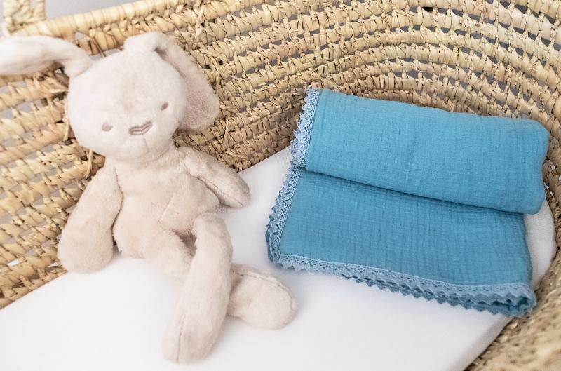 Baby Nellys Luxusná dvojvrstvová mušelínová detská deka, 75 x 100 cm, modrá