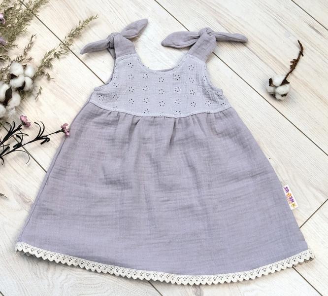 Baby Nellys Letné ľahučké mušelínové šaty Summer - šedé , veľ. 80/86