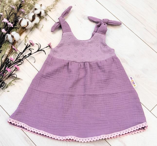Baby Nellys Letné ľahučké mušelínové šaty Summer -  lila, levandule, veľ. 80/86