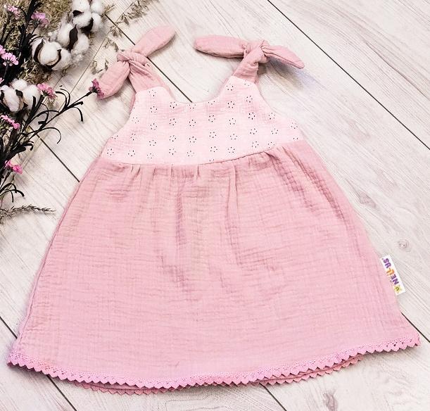 Baby Nellys Letné ľahučké mušelínové šaty Summer -  pudrová, marhula, veľ. 92/98