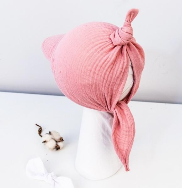 Baby Nellys Ľahká mušelínová šatka so šiltom na zaväzovanie + mašle, ružová