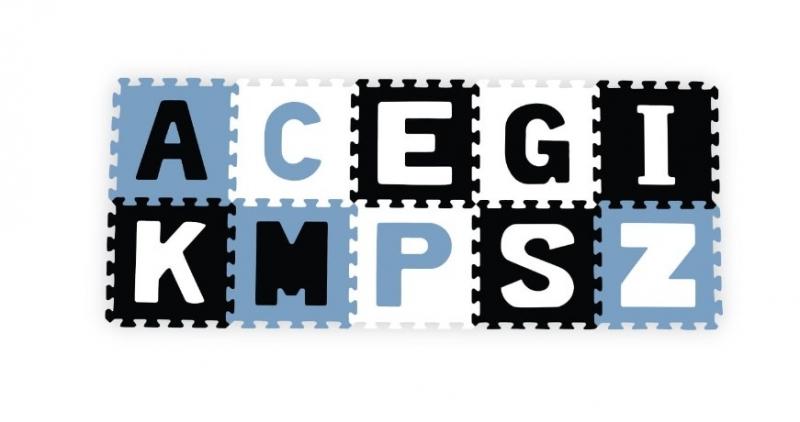 Penové puzzle - Písmená, 10ks, modrá / čierna / biela