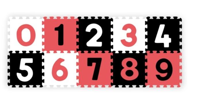 Penové puzzle - Čísla, 10ks, čierna / červená / biela