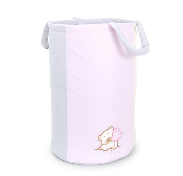 Mamo Tato Box na hračky - obojstranný, Medvedík so srdcom - ružový, sivý, žltý