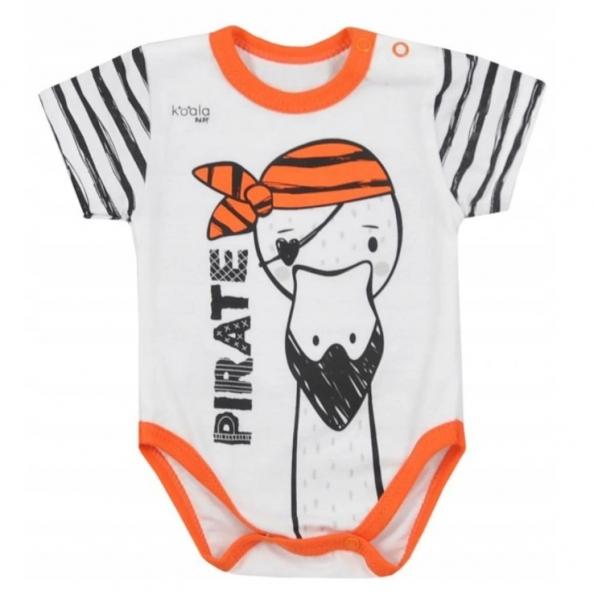Koala Baby body s krátkym rukávom Pirát - oranžová / smotanová, veľ. 80