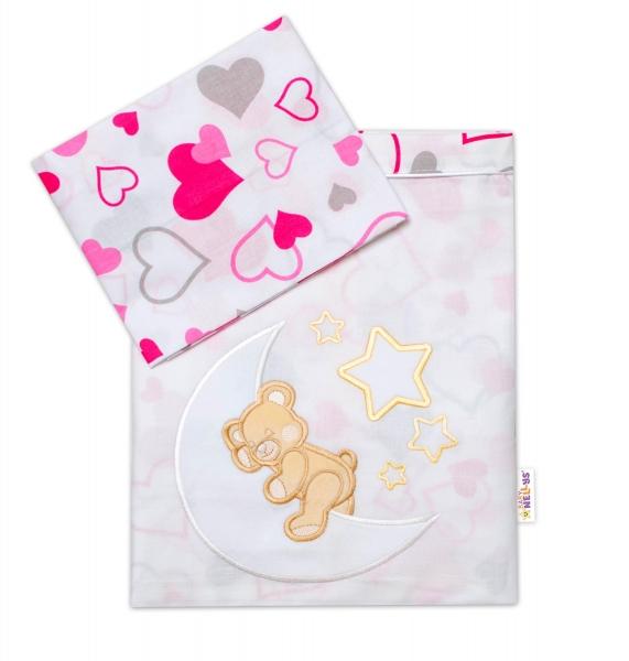Baby Nellys  2-dielna sada obliečok do postieľky, dievčenské farby, rôzne výši, 135x100 cm