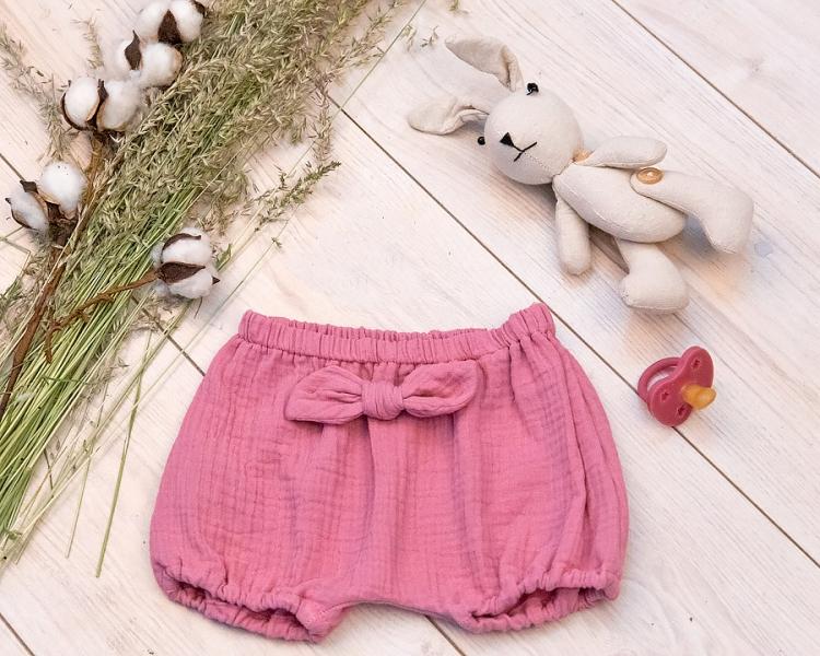 Baby Nellys mušelínové letné kraťasky GIRL s mašličkou, ružové, veľ. 80/86
