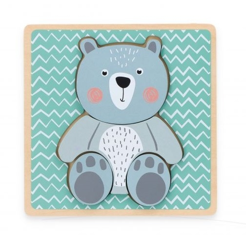Adam Toys Edukačný vkladačka Medveď - mätová