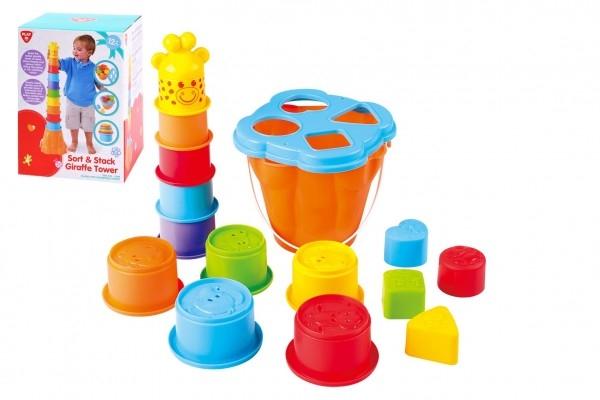 Vkladačka + kubus pyramída žirafa 2v1 plast v krabici 16x22x16cm 12m +