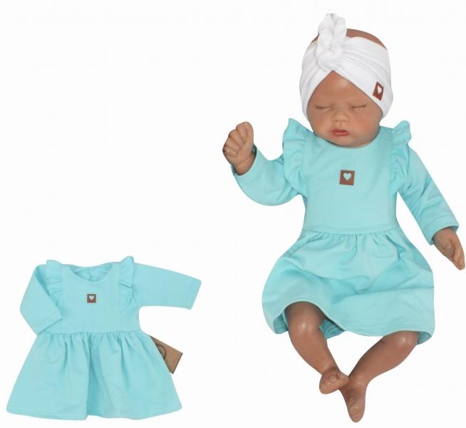 Z & Z Detské teplákové šatôčky/tunika Princess - tyrkys, veľ. 68