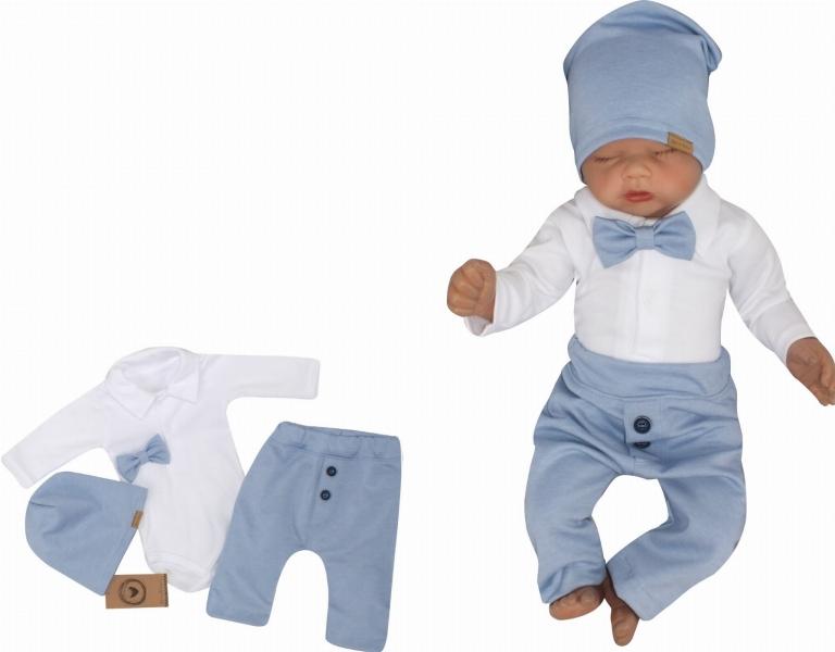 Z&Z 4-dielna sada Elegant Boy, body, nohavice, motýlik a čiapky, modrá/biela