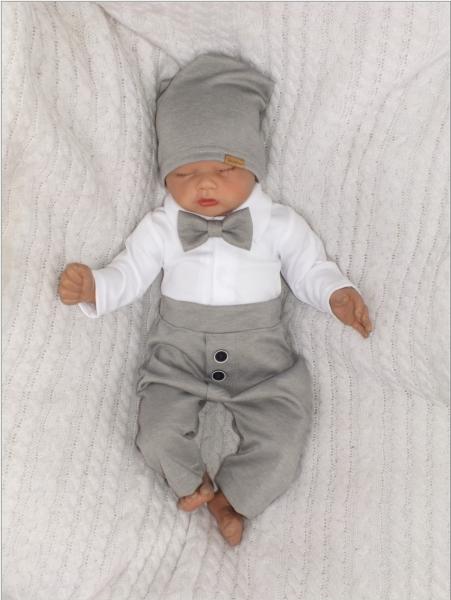 Z&Z 4-dielna sada Elegant Boy, body, nohavice, motýlik a čiapky, sivá/biela