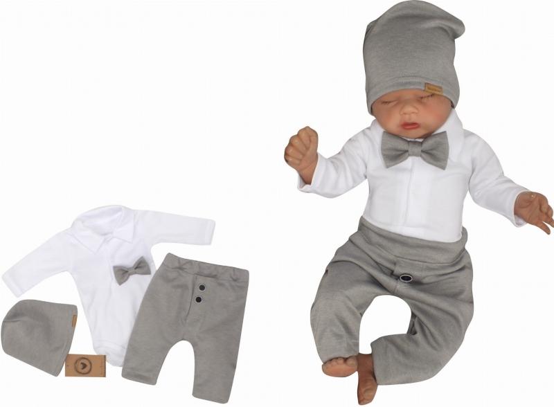 Z&Z 4-dielna sada Elegant Boy, body, nohavice, motýlik a čiapky, sivá/biela, veľ.74