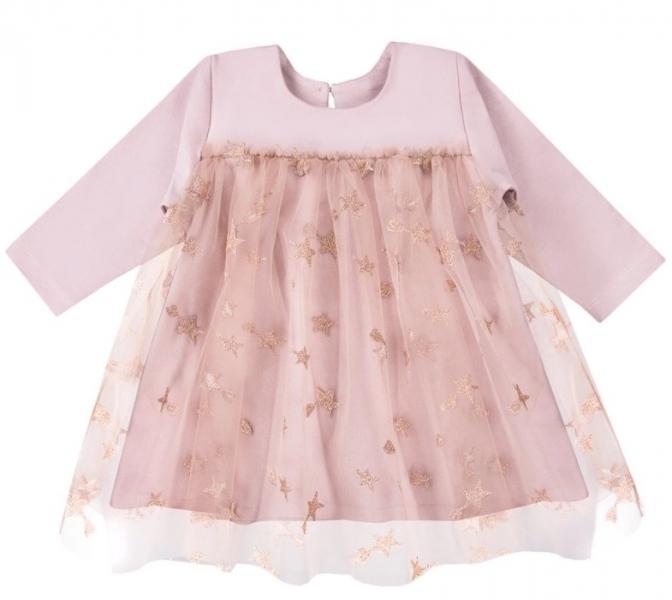 EEVI Dievčenské šaty s týlom Ceremony Hvezdičky - pudrové