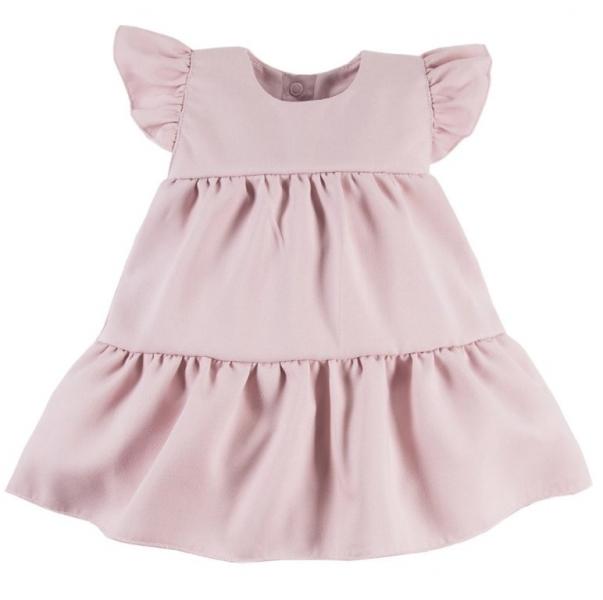 EEVI Dievčenské šaty s volánikmi Nature - pudrové, veľ. 98