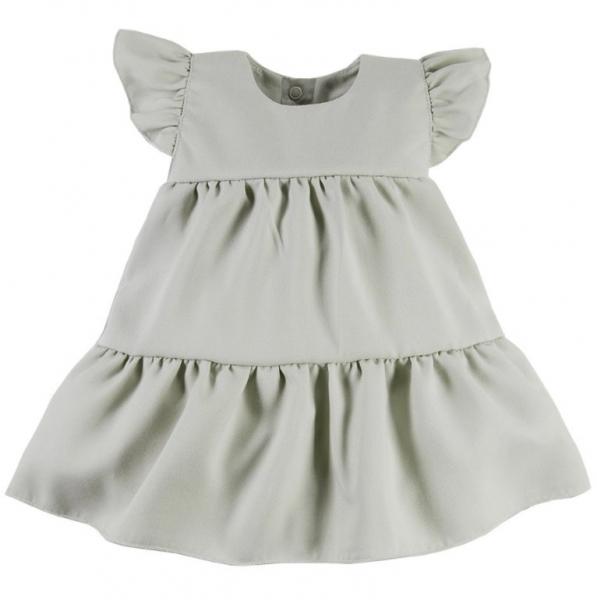 EEVI Dievčenské šaty s volánikmi Nature - khaki, veľ. 80