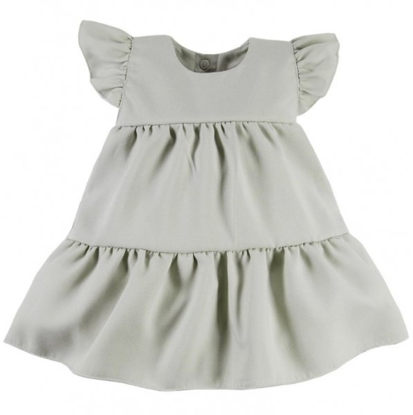 EEVI Dievčenské šaty s volánikmi Nature - khaki, veľ. 86