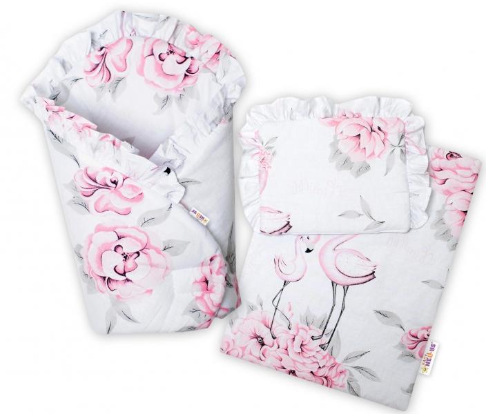 Baby Nellys Luxus. sada pre bábiku - zavinovovačka, perinka a vankúšik, Plameniak ružová