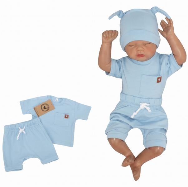 Z&Z 2-dielna sada tričko kr. rukáv, kraťasky s špagátom - modrá, vel. 68