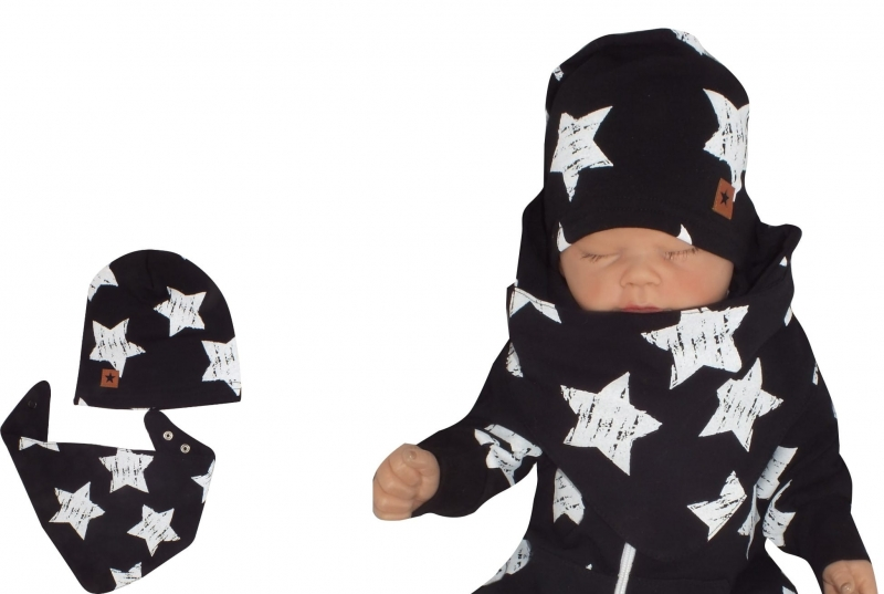 Z&Z Dvojvrstvová čiapočka + šatka Hviezdy, čierná, veľ. 68