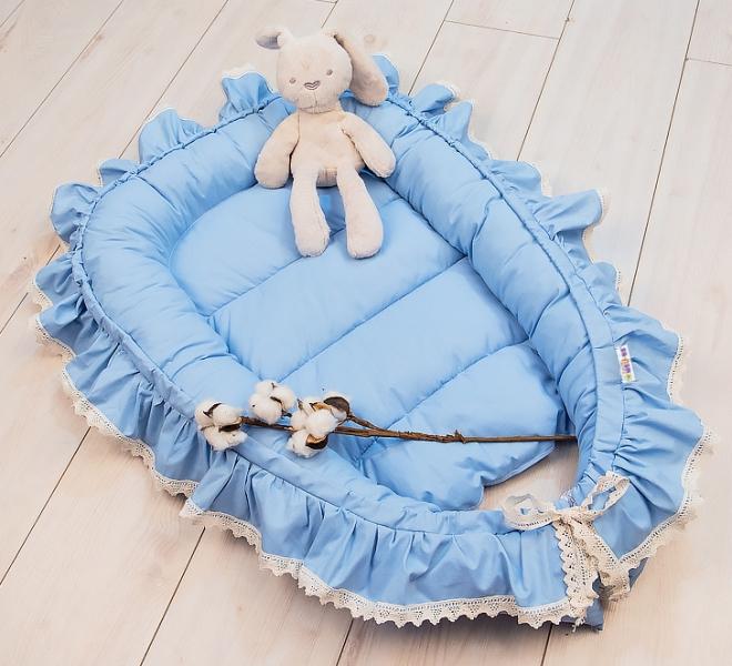 Baby Nellys Dojčenské hniezdočko, kokon Boho Style LUX, 60 x 90 cm - modré