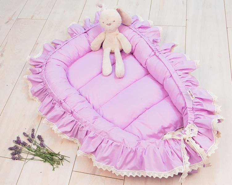 Baby Nellys Dojčenské hniezdočko, kokon Boho Style LUX, 60 x 90 cm - lila, fialové
