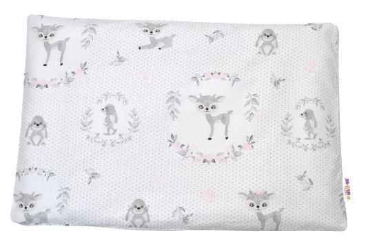 Baby Nellys Povlak na vankúšik Koloušek, 40x60 cm - ružový/sivý