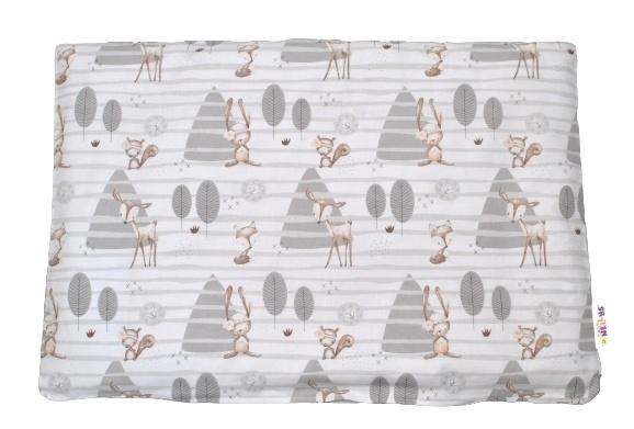Baby Nellys Povlak na vankúšik Zvieratká v lese, 40x60 cm - sivý