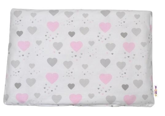 Baby Nellys Povlak na vankúšik Srdíčka, 40x60 cm - ružový/biely/sivý