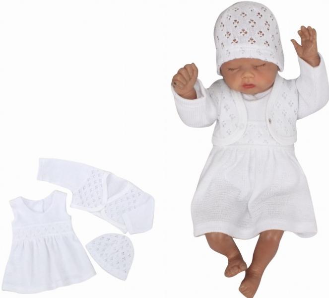 Z&Z 3-dielna pletená súprava šatôčky, bolerko a čiapočka - biela, veľ. 62