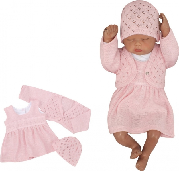 Z&Z 3-dielna pletená súprava šatôčky, bolerko a čiapočka - ružová