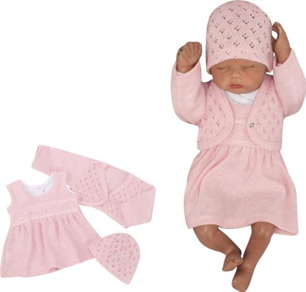 Z&Z 3-dielna pletená súprava šatôčky, bolerko a čiapočka - ružová, veľ. 80
