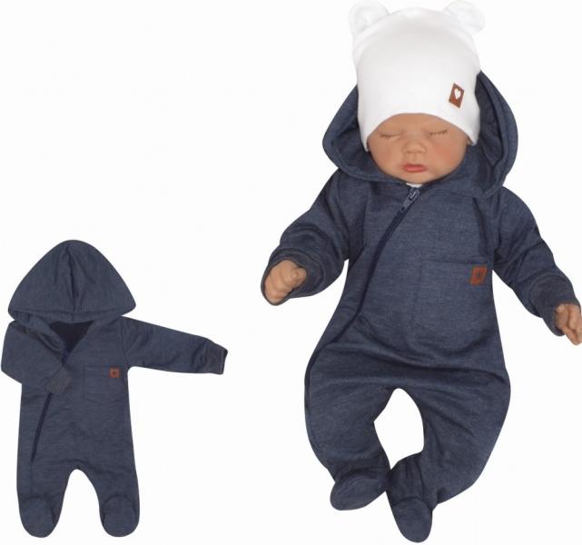 Z&Z Detský teplákový overálek sa šlapkama, kapucňou a vreckom, jeans, veľ. 80