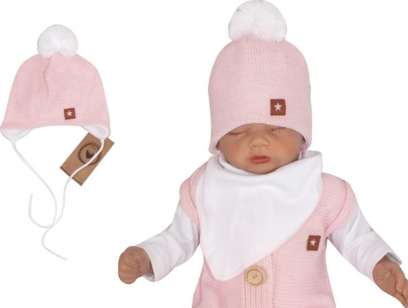 Z&Z Dvojvrstvová pletená čiapka na zaväzovanie s brmbolcom, ružová-#Velikost koj. oblečení;56 (1-2m)
