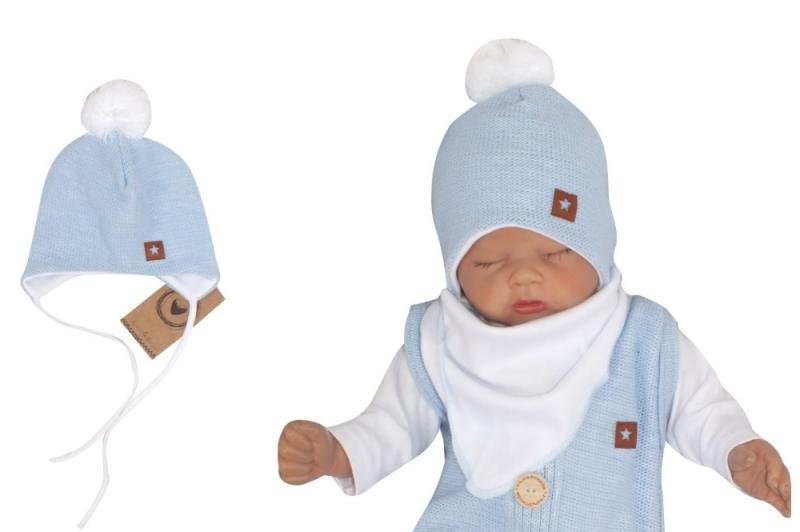 Z&Z Dvojvrstvová pletená čiapka na zaväzovanie s brmbolcom, modrá