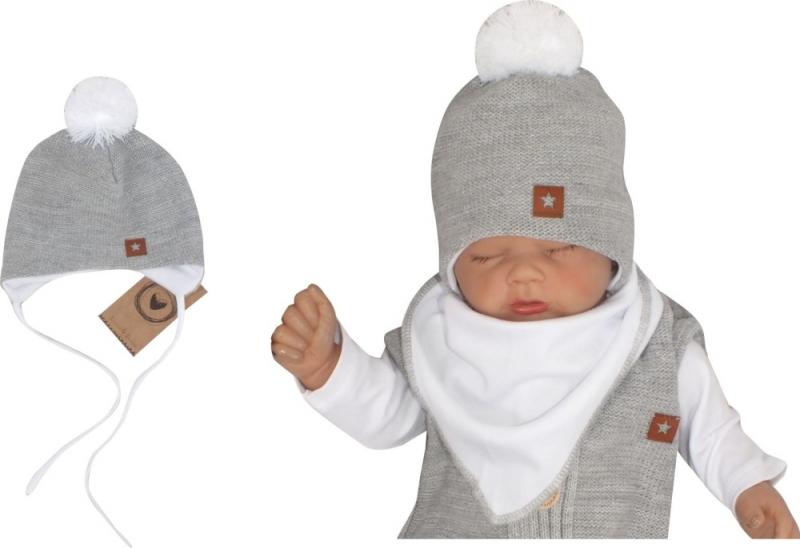 Z&Z Dvojvrstvová pletená čiapka na zaväzovanie s brmbolcom, sivá