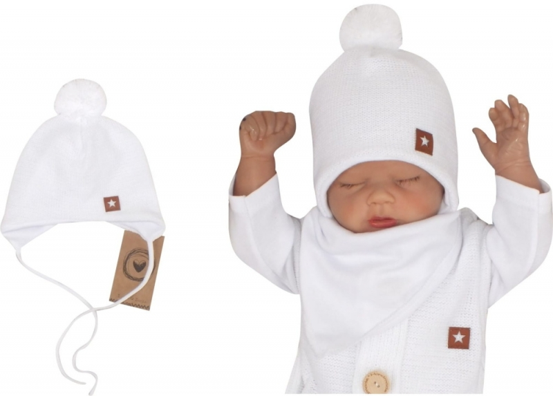 Z&Z Dvojvrstvová pletená čiapka na zaväzovanie s brmbolcom, biela, veľ. 62