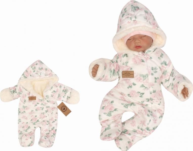 Z&Z Oteplená bavlnená kombinéza s kožušinou a kapucňou s mašľou Kvety - smotanová