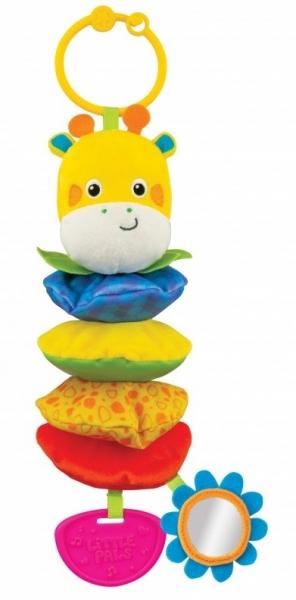 Tulimi Vibrujúci závesná plyšová hračka so zrkadielkom a hrkálkou - žirafka