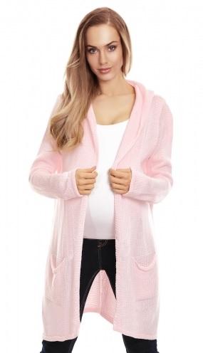 Be MaaMaa Tehotenský kardigan s kapucňou, sv. růžový