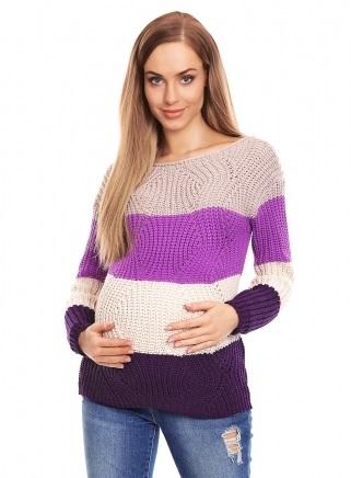 Be Maamaa Teploučký tehotenský sveter, široké pruhy - fialová