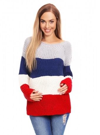 Be Maamaa Teploučký tehotenský sveter, široké pruhy - jeans, červená