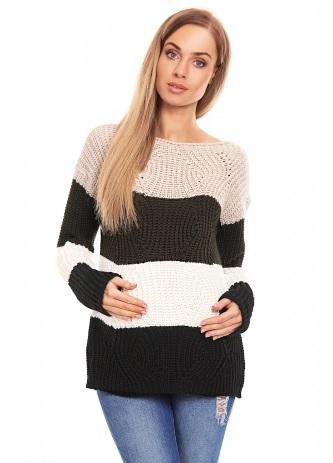 Be Maamaa Teploučký tehotenský sveter, široké pruhy - khaki