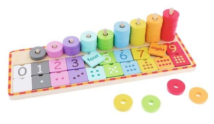 Trefl Drevená hračka, počítadlo s anglickými číslami a žetóny