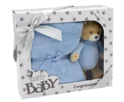 Tulilo Detská sada deka + plyšová hračka Méďa Teddy - modrá