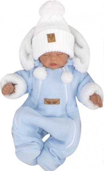 Z&Z Zimná pletená kombinéza s odnímateľnou kapucňou - modrá, veľ. 68