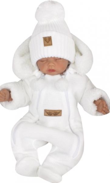 Z&Z Zimná pletená kombinéza s odnímateľnou kapucňou - biela, veľ. 68
